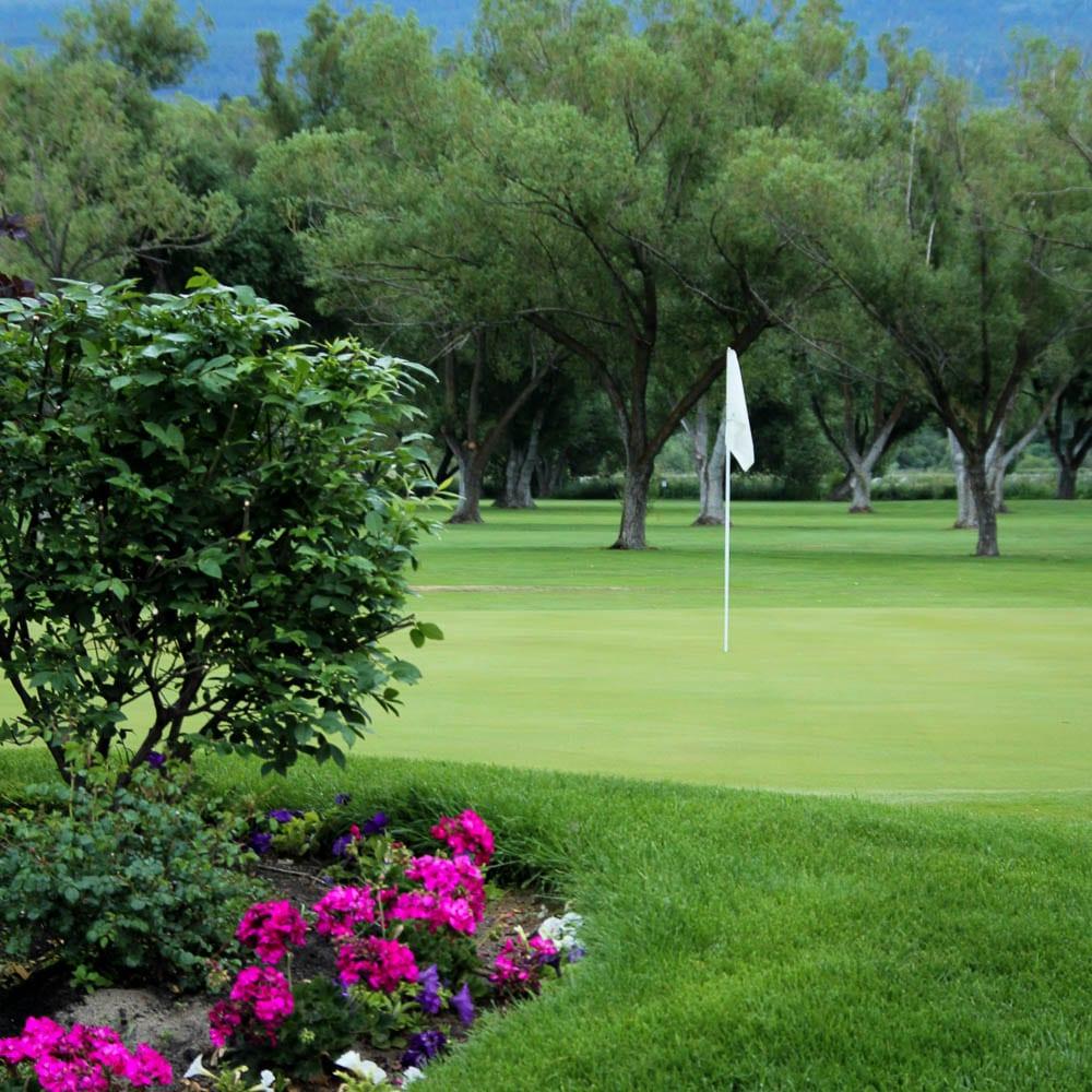 Garden on golf course, flagstick